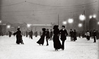Ice skating by night in Vienna circa 1910.