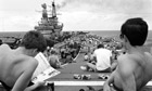 Falklands War - relaxing aboard HMS Hermes