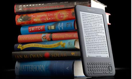 A Kindle and some hardback books