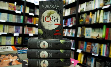 Copies of Haruki Murakami's IQ84 on display inside a bookshop