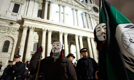 Occupy London protesters and riot police outside St Paul's Cathedral, February 2012.