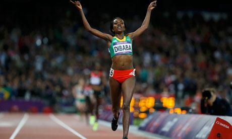 Ethiopia's Tirunesh Dibaba celebrates