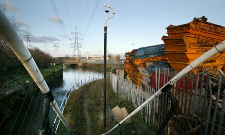 a view of the River Lea, east London, before its regeneration for the 2012 Olympics