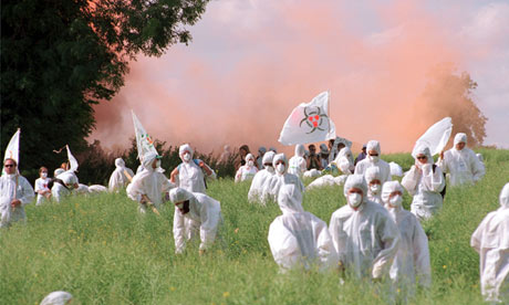 Protesters destroy GM crops.