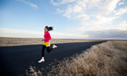 A woman running in Spokane, Washington State