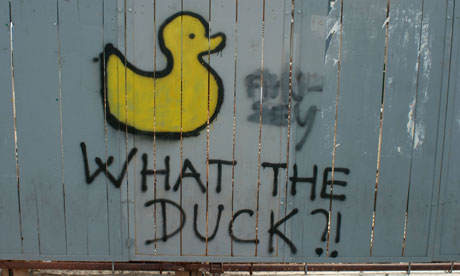 Spray paint image on a duck and slogan