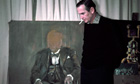 English painter Graham Sutherland with his portrait of Winston Churchill, 1955.