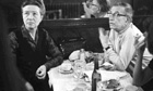 Simone de Beauvoir and Jean Paul Sartre at the Café de Flore in Paris.