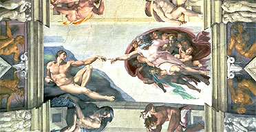 Detail from Michelangelo's Sistine Chapel ceiling frescoes (God creates Adam)
