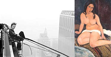 Philippe Petit in 1974 and Modigliani Draped Nude, 1917
