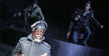 JohnKani (Ghost) and Vaneshran Arumugam (Hamlet) in Hamlet