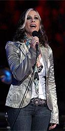 Alanis Morissette singing at the NBA finals, June 2005