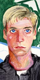 'Ian' 1988. Oil on canvas 20 5/8in X 12 3/4in (c) David Hockney. Photograph: Richard Schmidt