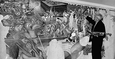 Stanley Spencer working on Christ talking with people at Cookham Regatta in 1959