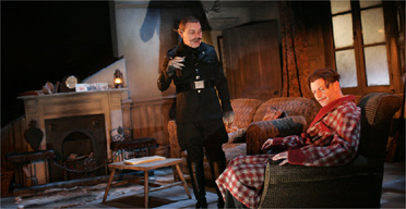 Hugo Speer (Orwell) and Paul Kemp (Rat) in Year of the Rat, West Yorkshire Playhouse