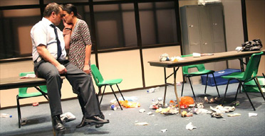 Robert Daws and Dawn Steele in Blackbird by David Harrower, Rose Theatre, Kingston