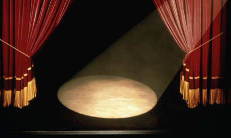 Red Velvet Theater Curtain Tied Back Clipart Illustration by Geo