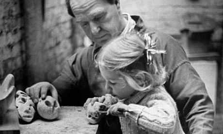 Henry Moore with his daughter Mary Moore in his studio in 1949