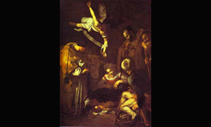 Caravaggio. Nativity with Saints Francis and Lawrence. 1609. Oil on canvas. San Lorenzo, Palermo, Italy