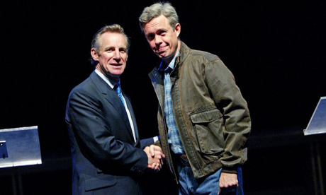 Nicholas Farrell as Tony Blair and Alex Jennings as George Bush in Stuff Happens, Olivier theatre, 2004