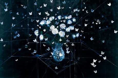 Damien Hirst's Requiem, White Roses and Butterflies (2008) at the Wallace Collection