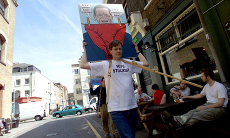 Stuckist art protester Charles Thomson marches through east London