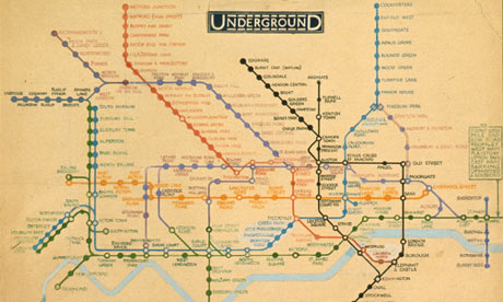 Original drawing for the diagrammatic London tube map by Henry Beck (1931)