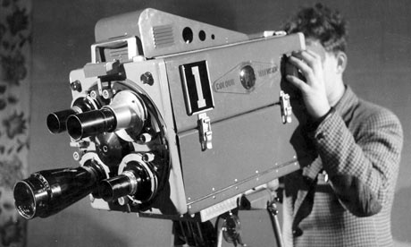 A colour TV camera is demonstrated at Alexandra Palace