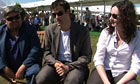 Andre Vincent, Marcus Brigstocke and Carrie Quinlan at the Hay festival