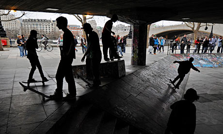 The Undercroft beneath the Queen Elizabeth Hall on London's Southbank being used by skateboarders