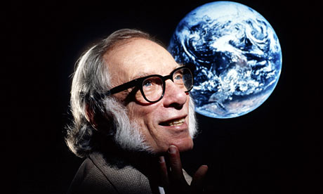 Author and Scientist Isaac Asimov with a photo of the Earth from space