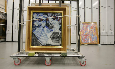 Natalya Goncharova's Linen (1913) on a trolley in the Tate storage warehouse