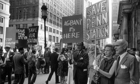 Jane Jacobs (wearing glasses) with picketing crowds outside Penn Station in 1963