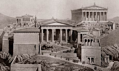 The Acropolis, Athens, Greece as it would have appeared in ancient times.