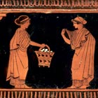 Detail from a pyxis showing a scene from the women's quarter