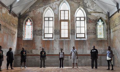 The Isango Portobello troupe rehearse in the Fugard theatre, Cape Town
