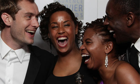 Jude Law presents Lorraine Burroughs, Katori Hall and David Harewood with best new play