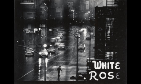 W Eugene Smith: White Rose Bar sign from the 4th floor window of 821 Sixth