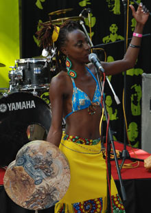 Musician Hope Masike performing at Harare International Festival 