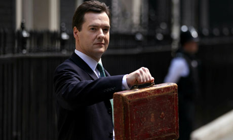 Chancellor of the exchequer George Osborne holds Disraeli's original budget box