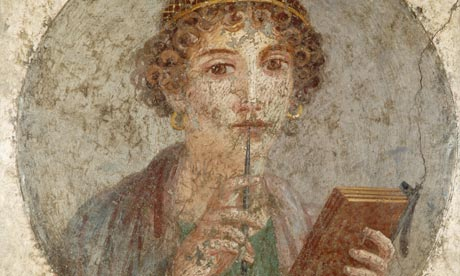 Sappho Holding a Stylus, a fresco painting from Pompeii