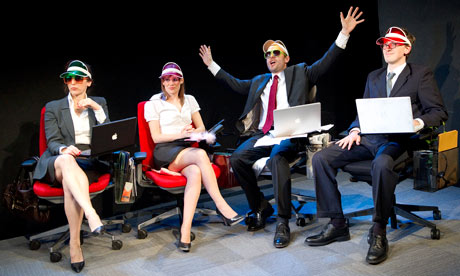 Theatre 503's production of Sold: corporate execs in shades and visors