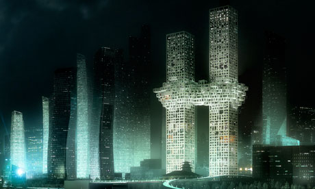 MVRDV's The Cloud: two towers linked in the middle by what looks like a cloud