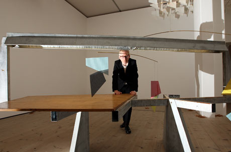 Top table … Martin Boyce with his Turner prize-winning installation Do Words Have Voices.