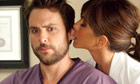 Charlie Day and Jennifer Aniston in a scene from Horrible Bosses