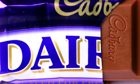 Purple reign … a Cadbury's Dairy Milk bar.