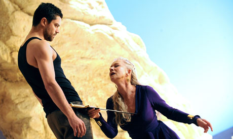 O happy dagger … Helen Mirren and Dominic Cooper in Phèdre at the National theatre.