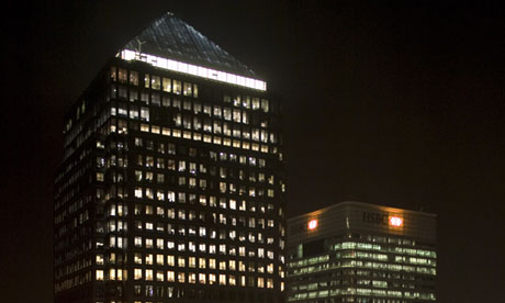 Two buildings in Canary Wharf financial district of London