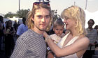 Kurt Cobain and Courtney Love with daughter Frances Bean at the MTV Video Music awards in 1993