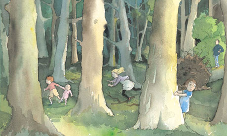 One of Oxenbury's illustrations for We're Going on a Bear Hunt